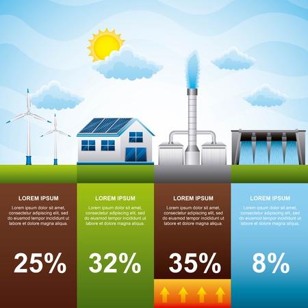 Ilustración de infographic alternative power sources energy modern renewable energy vector illustration - Imagen libre de derechos