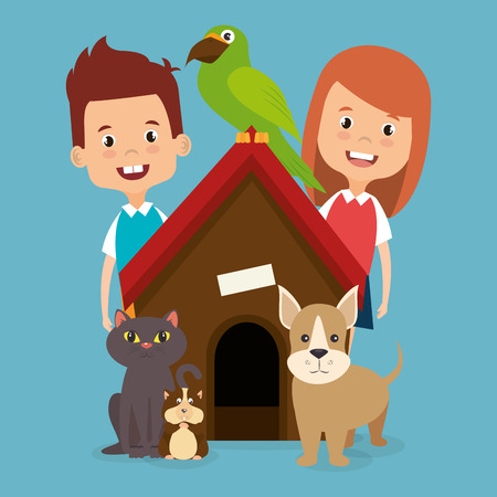 Illustration for kids with pets characters vector illustration design - Royalty Free Image