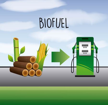 Ilustración de biofuel sugarcane and corn ethanol pump station vector illustration - Imagen libre de derechos