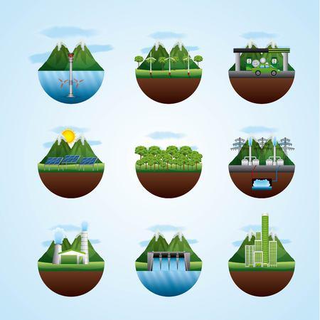 Ilustración de differents landscape with resources of energy types vector illustration - Imagen libre de derechos