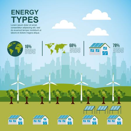Ilustración de energy types - forest houses city turbines   panel solar  infographic vector illustration - Imagen libre de derechos