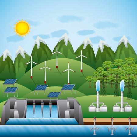 Ilustración de Turbine geothermal panel illustration - Imagen libre de derechos
