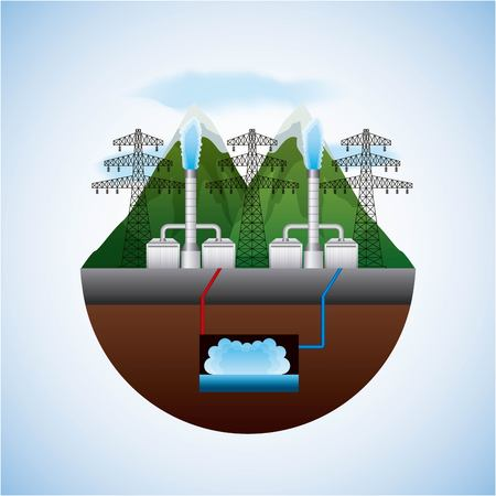 Ilustración de energy types - landscape natural and electric towers geothermal plants vector illustration - Imagen libre de derechos
