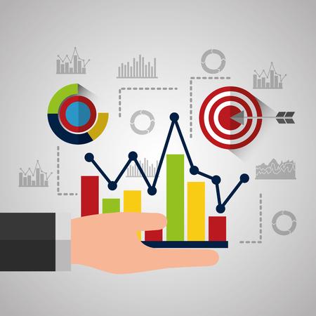 Ilustración de hand holing increasing bar chart business statistics analysis vector illustration - Imagen libre de derechos