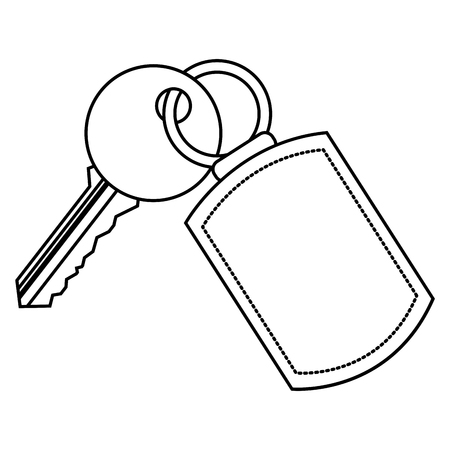 Illustration for A key with key chain access door vector illustration vector illustration thin line - Royalty Free Image