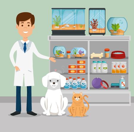 Illustrazione per Veterinarian with animals character vector illustration design - Immagini Royalty Free