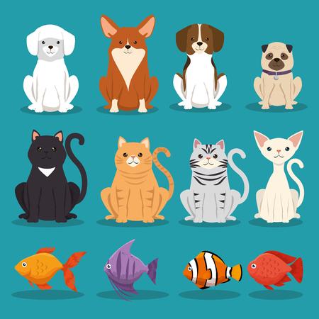 Ilustración de dogs cats and fish pets characters vector illustration design - Imagen libre de derechos