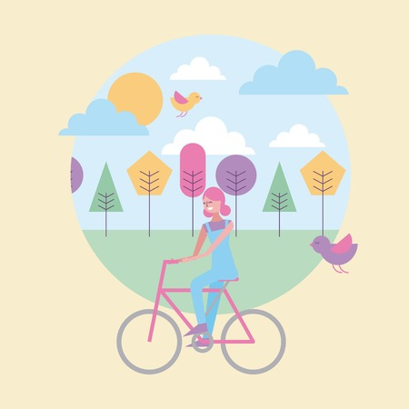Ilustración de happy woman riding in bike with spring landscape and birds vector illustration - Imagen libre de derechos