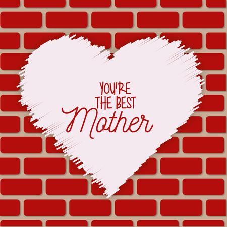 Ilustración de heart painting on wall brick best mom - mothers day vector illustration - Imagen libre de derechos