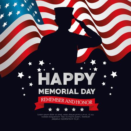 Ilustración de happy memorial day card with soldier silhuette vector illustration design - Imagen libre de derechos