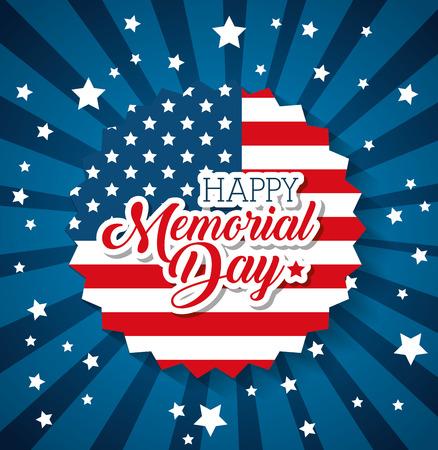 Illustration pour Happy memorial day with flag vector illustration design - image libre de droit