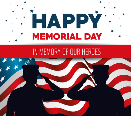 Illustration pour happy memorial day card with soldier silhuette vector illustration design - image libre de droit