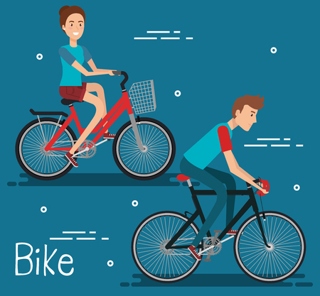 Illustrazione per Young people with bicycle vector illustration design - Immagini Royalty Free