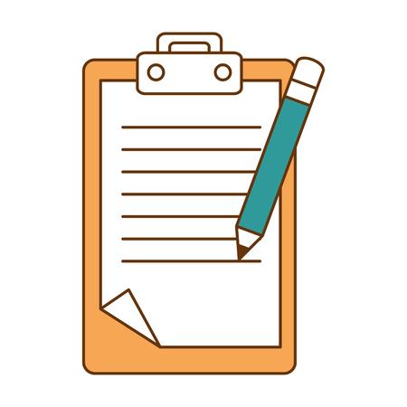 Ilustración de checklist document with pencil vector illustration design - Imagen libre de derechos