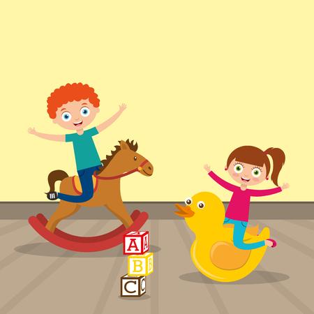 Ilustración de kids playing wooden horse and big duck cartoon vector illustration - Imagen libre de derechos