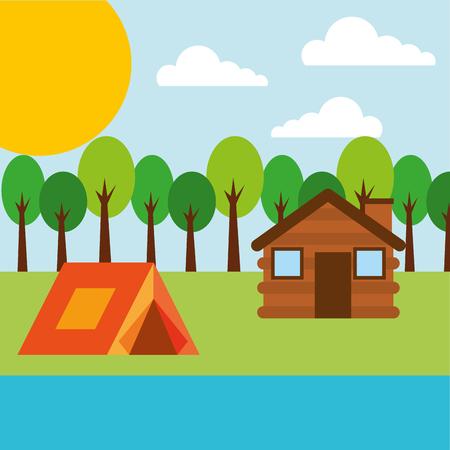 Ilustración de forest outdoor camp wooden cottage and tent river vector illustration - Imagen libre de derechos