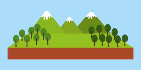 Illustration for forest outdoor camp mountains trees pine landscape natural vector illustration - Royalty Free Image