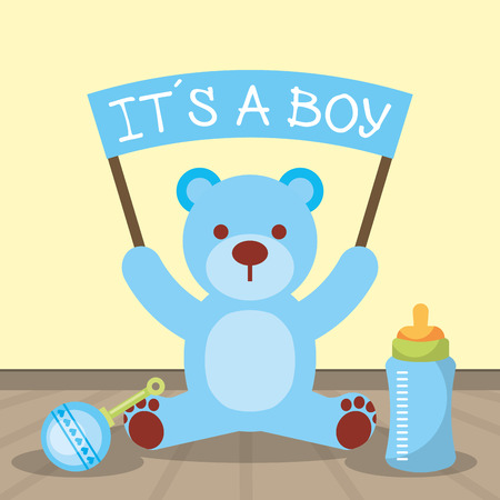 Illustration pour baby shower card blue bear holding board its a boy vector illustration - image libre de droit