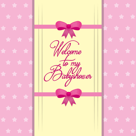 Illustration pour welcome to my baby shower girl card vector illustration - image libre de droit