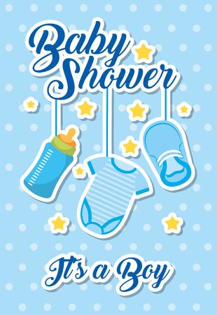 Illustration pour baby shower - its a boy blue clothes bottle and shoe vector illustration - image libre de droit
