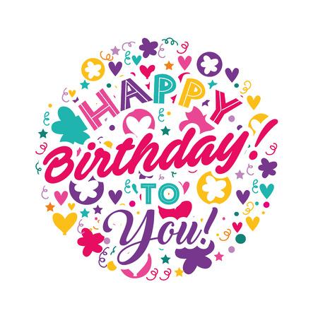 Ilustración de happy birthday to you greeitng card celebration vector illustration - Imagen libre de derechos