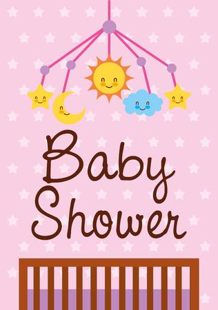 Illustration pour baby shower card crib mobile toys vector illustration - image libre de droit