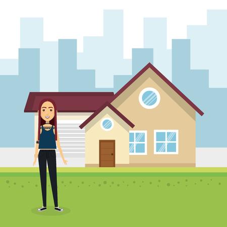 Ilustración de Young woman outside house vector illustration design - Imagen libre de derechos