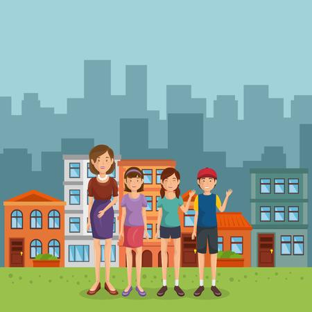 Illustration pour family members in the park vector illustration design - image libre de droit