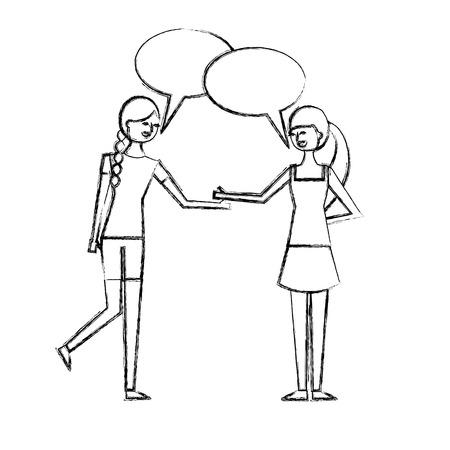 Illustration pour people character friends women speech bubble talking vector illustration sketch design - image libre de droit