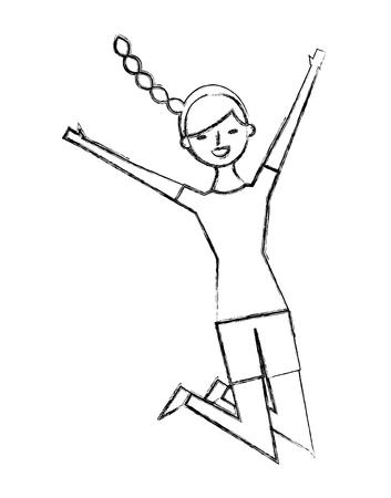 Illustration pour people female jumping enjoy character vector illustration sketch design - image libre de droit