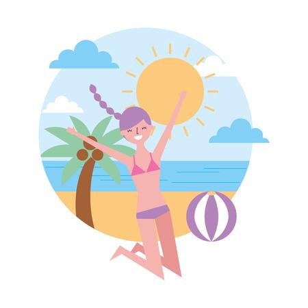 Ilustración de young woman jumping happy in the beach vector illustration - Imagen libre de derechos