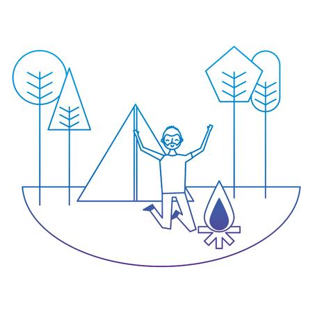 Ilustración de Jumping happy man in camping field tent bonfire trees vector illustration degrade color image - Imagen libre de derechos