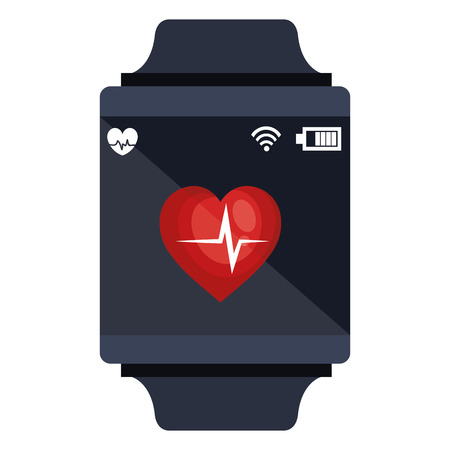 Ilustración de smartwatch with cardiology app vector illustration design - Imagen libre de derechos