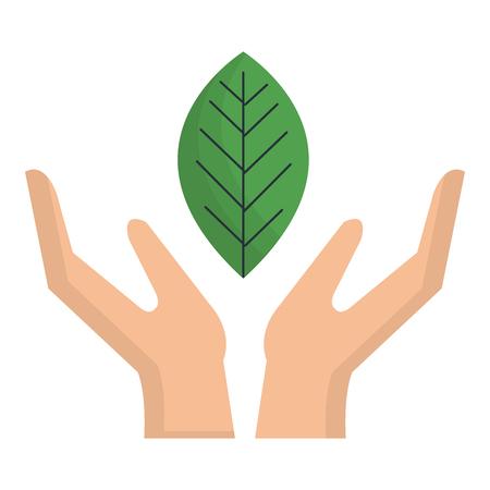 Ilustración de Hand with leaf plant ecology icon vector illustration design - Imagen libre de derechos