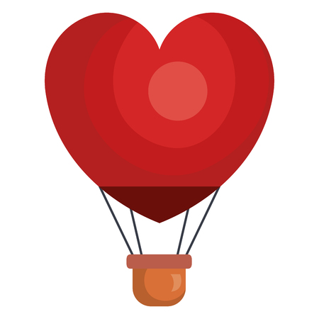 Illustration pour balloon air hot with heart shape flying vector illustration design - image libre de droit