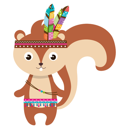 cute and tender chipmunk with feathers hat vector illustration design