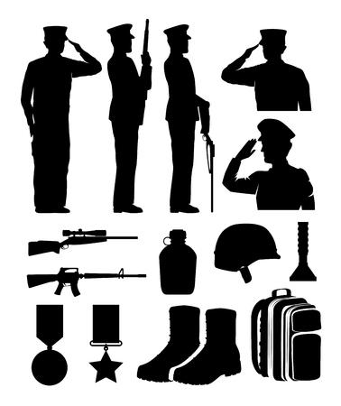 Ilustración de soldiers and equipment silhouettes vector illustration design - Imagen libre de derechos
