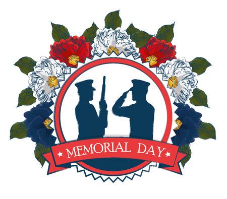 Ilustración de happy memorial day celebration card with soldier silhouette vector illustration design - Imagen libre de derechos