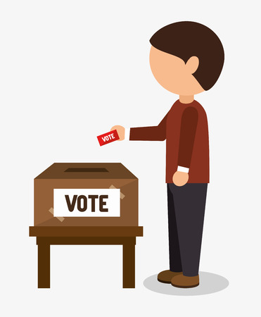 Illustration pour Cartoon elections vote design with man placing in his vote in the ballot box vector illustration - image libre de droit
