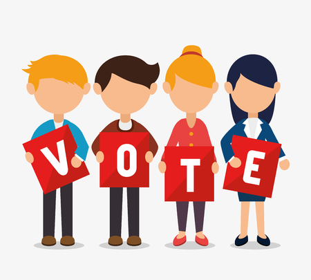 Illustration pour Cartoon elections vote design with men and women with vote cards vector illustration - image libre de droit