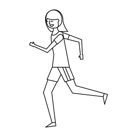 Ilustración de fitness woman running in sport clothes vector illustration outline design - Imagen libre de derechos