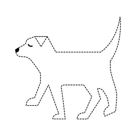 Illustration pour pet dog animal domestic image vector illustration dotted line - image libre de droit