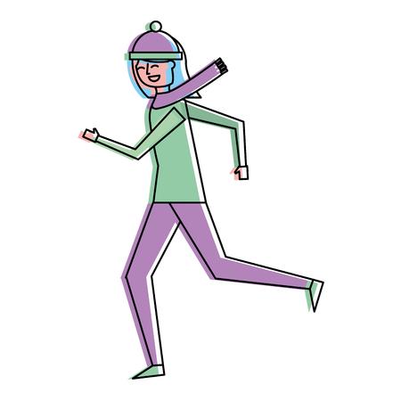 Ilustración de cute woman running in warm clothes vector illustration - Imagen libre de derechos