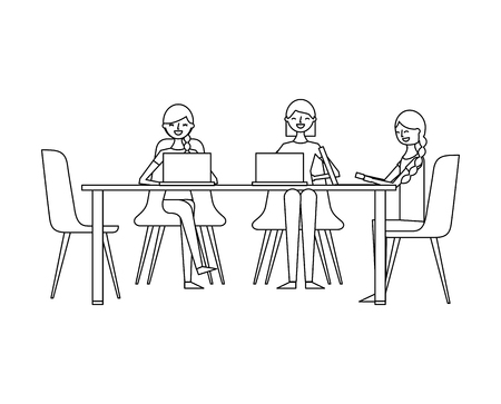 Ilustración de people group women sitting working together with laptops vector illustration outline design - Imagen libre de derechos