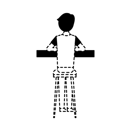 Illustration pour back view cartoon man sitting on stool and counter vector illustration dotted line design - image libre de droit