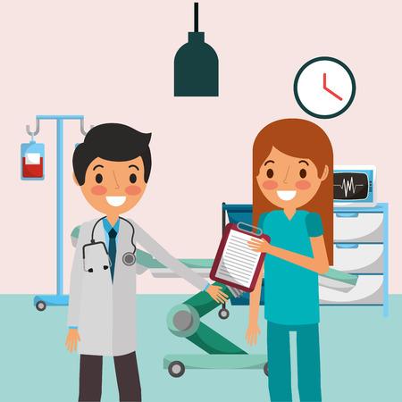 Illustration pour medical people nurse holding report in consultation room vector illustration - image libre de droit