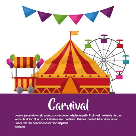 Illustration pour carnival circus tent booth ballons ferris wheel leisure fun vector illustration - image libre de droit