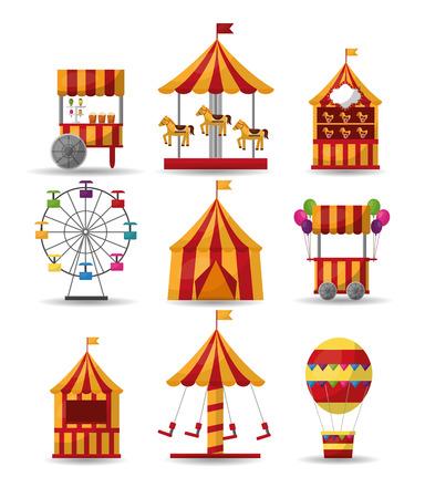 Illustration pour carnival collection circus park enjoy elements vector illustration - image libre de droit