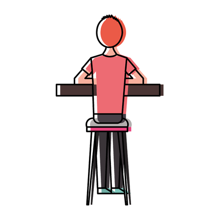 Illustration pour Back view cartoon man sitting on stool and counter vector illustration - image libre de droit