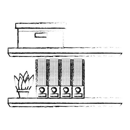 Illustration for Shelves carton box folder and plant in pot vector illustration sketch design - Royalty Free Image